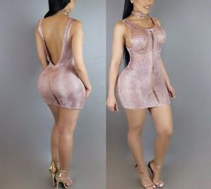 New-Womens-Girls-Ladies-Rose-Gold-Metallic-Sexy-Party-Cocktail-Dress-size-S-M
