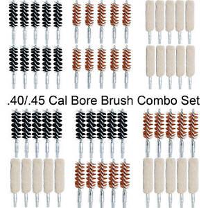 .40/.45 Cal Cleaning Bore Brush Combo Set, Nylon Brass Cotton Mop 8-32 TPI