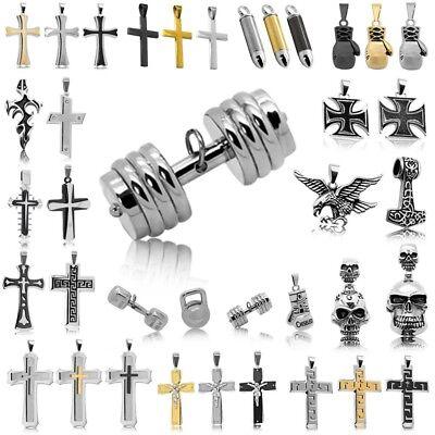 Edelstahl Anhänger für Königskette Panzerkette Herrenkette Kettenanhänger Kreuz