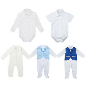 44d2f84e4 Details about Baby Boy Wedding Christening Formal Bow Smart Shirt Party  Suit Outfit Tuxedo Set