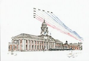 A3-Art-Print-Poster-RAF-College-Cranwell-Hand-Sketched-Military-Building-Art