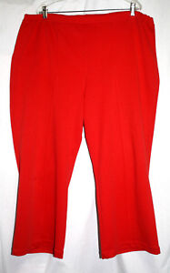 Womens Size 22 24 Red Stretch Full Elastic Waist Straight Leg