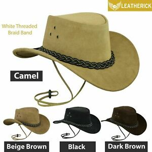 Australian-Western-Style-Cowboy-Real-Leather-Bush-Hat-With-Chin-Strap-UK-stock