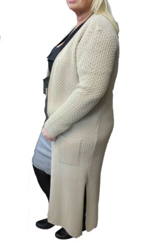 New Ladies Womens Long Sleeve Warm Knitted Maxi Cardigan Open Sweater Jumper Top