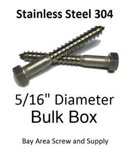 "3//8/"" x 4/"" Stainless Steel Lag Screws Hex Head w// washers 304 18-8 Bulk 100"