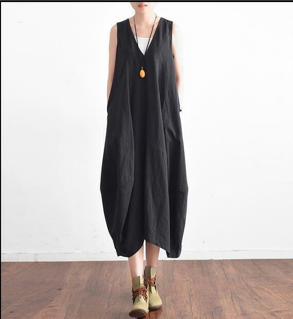 Womens Cotton Linen Summer Sleeveless Casual Beach Retro V-neck Mid-long Dresses
