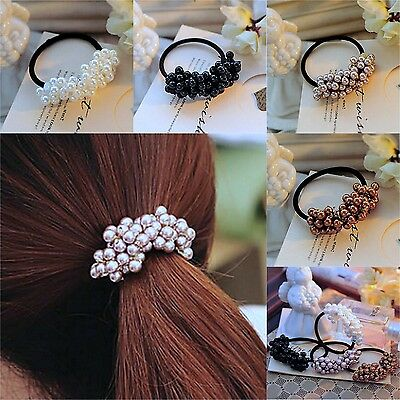 Lady's Fashion Pearl Headband Elastic Rope Ponytail Holder Scrunchie