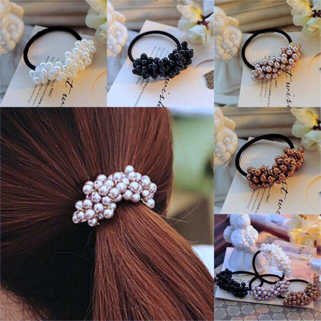 Women Fashion Rhinestone Crystal Pearl Hair Band Rope Elastic Ponytail Holder