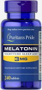 240-Tablets-Puritan-039-s-Pride-Super-3mg-Melatonin-Anti-Aging-NightTime-Sleep-Aid