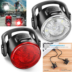 12LED-6-Mode-USB-Rechargeable-Bike-Lights-Headlight-Taillight-Caution-Bicycle-UK