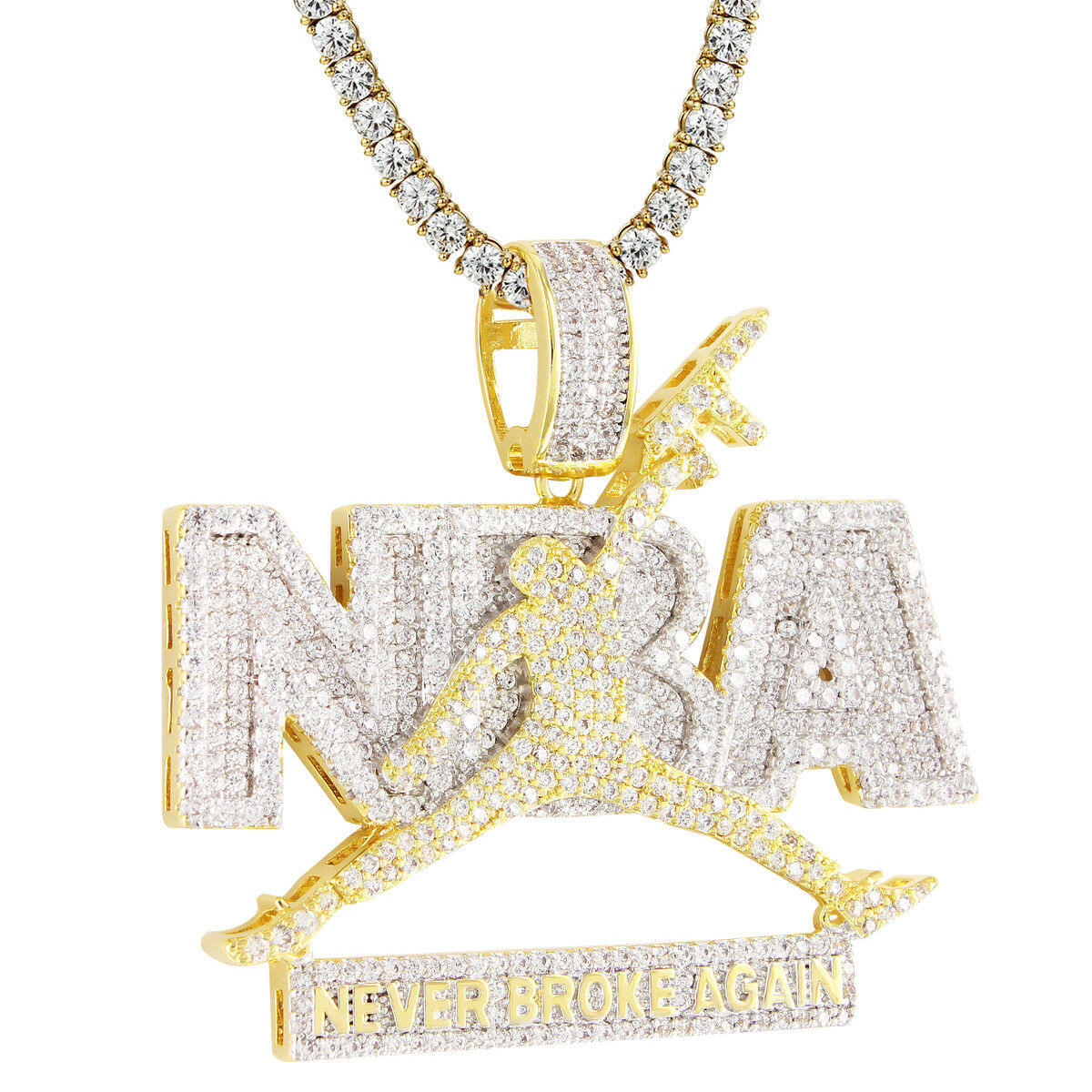 14k gold Finish Never Broke Again Jumpman Pendant Iced Out Simulated Diamonds
