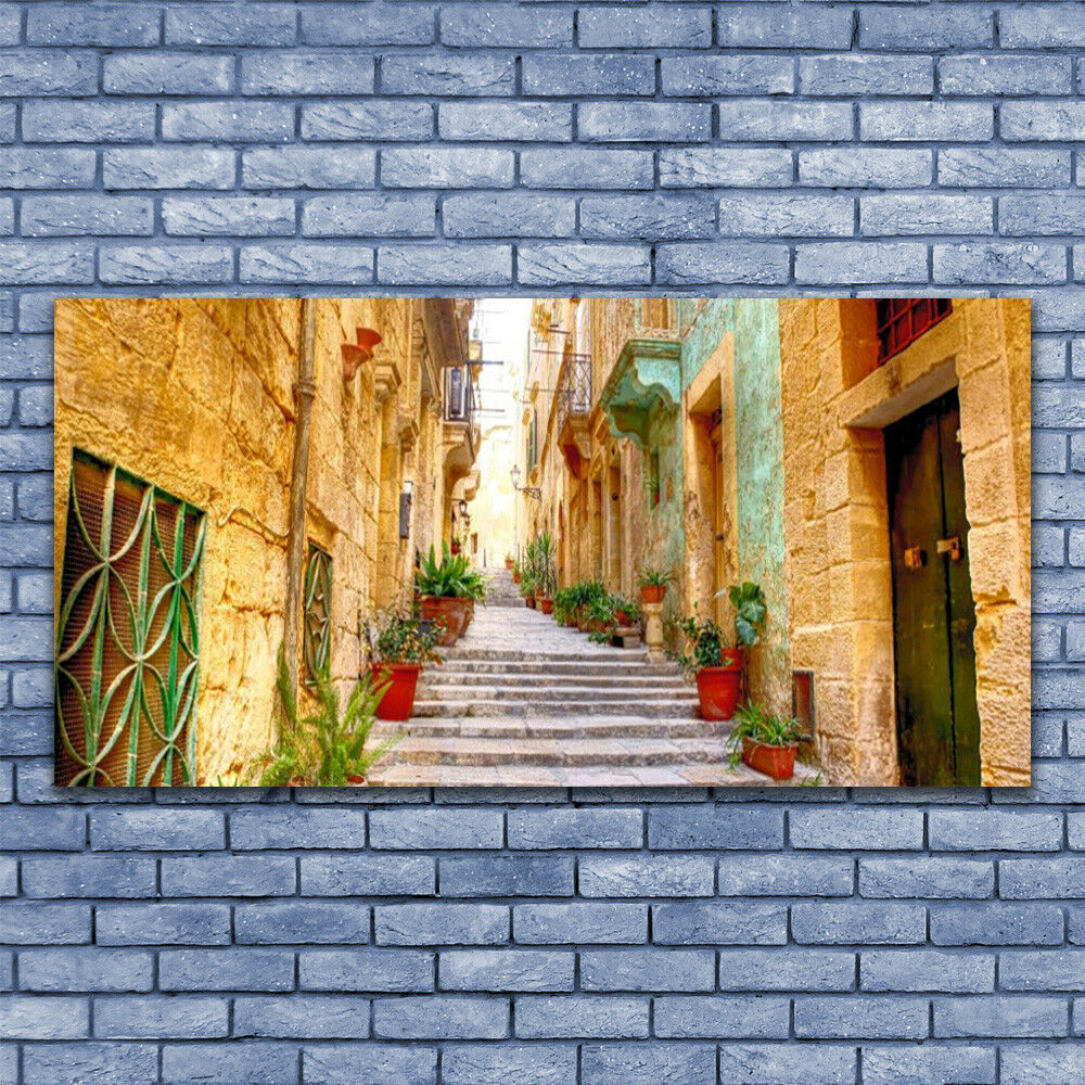 Print on Glass Wall art 140x70 Picture Picture Picture Image Old Town Street Houses 79b60b