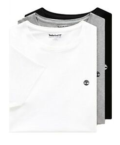 Timberland-3-Pack-Cuello-Redondo-Camiseta-Algodon-Camiseta-Blanco-Negro-Gris-Delgado-3-Paquete