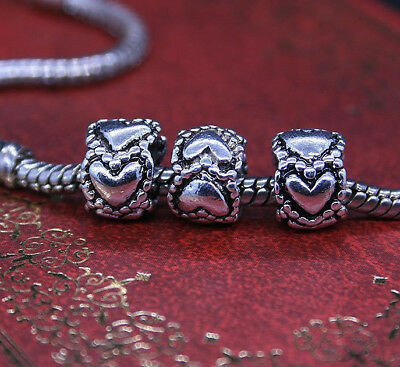 Charm Dad Bead Charm Dad Heart Charm Fits European Charm Bracelets CH134