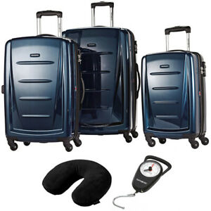 Samsonite-Winfield-2-Fashion-Hardside-3Pcs-Spinner-Set-Blue-Pillow-amp-Scale