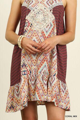 Umgee Dress Size XL S M L Red Lace Tank Shift Shirt Free Boho People Womens New
