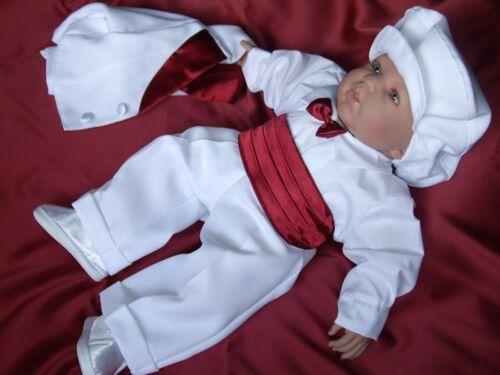 Taufanzug Smoking Weiß*Festanzug Blumenkind Taufe* Kinderanzug Kummerbund Junge