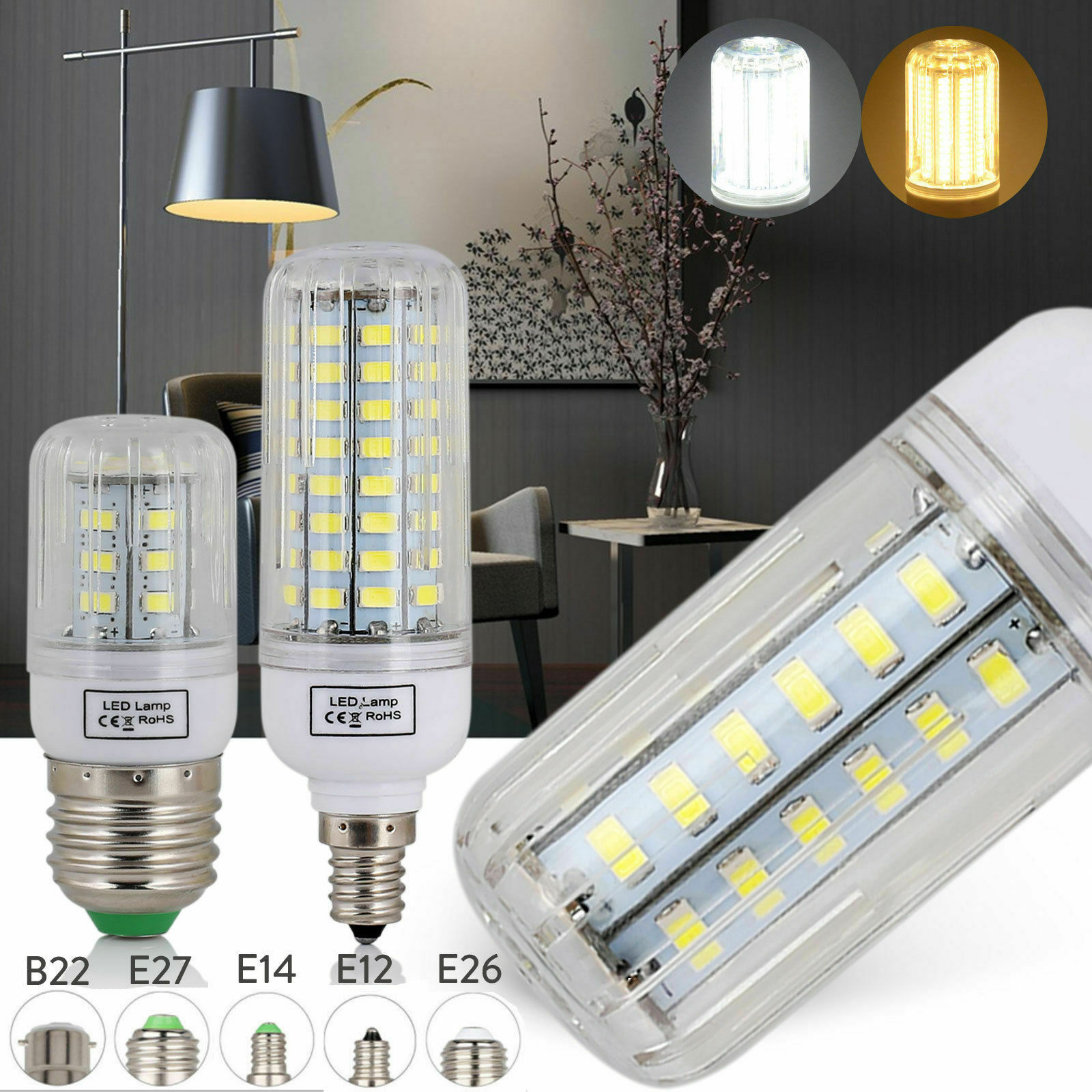 E27 E14 E12 B22 LED Corn Bulb 5730 SMD Energy Saving Incandescent 20W-160W RK184