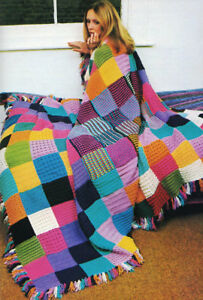 Blanket Rug Throw Granny Squares 4 Ply