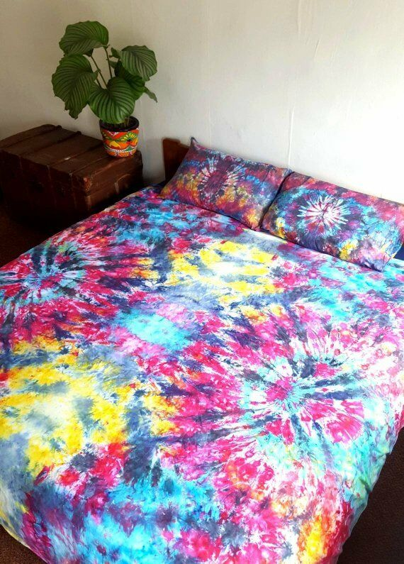 Bedding Duvet Set Tie Dyed Multicolour Unique All Größes Hippie 90s Grunge Tumblr