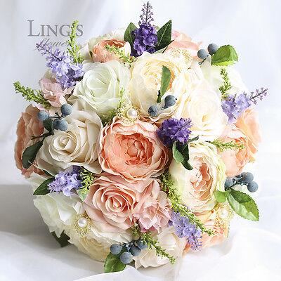 2PC Set Wedding Silk Flowers:Bridal Bouquet Groom's Buttonhole Rose Ranunculus