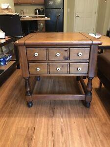 Vintage Ethan Allen Antiqued Pine Old Tavern Drawer End Coffee Side Table Ebay
