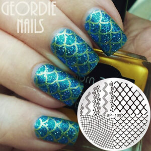 Born Pretty Nail Stamping Plate Nail Art Manicure Wave Line Net