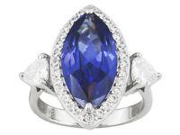 Sterling Silver Charles Winston Simulated Diamond & Tanzanite Evening Ring 6