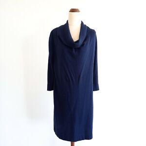 David-Lawrence-Size-M-Dark-Blue-Fine-Knit-3-4-Sleeve-Sweater-Dress-Tunic-Women-039-s