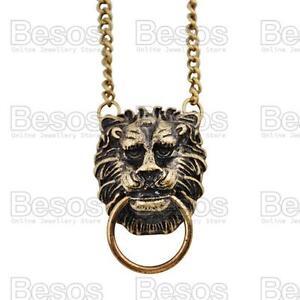 LION-HEAD-pendant-NECKLACE-vintage-fashion-ANTIQUE-BRASS-FINISH-chain-RETRO
