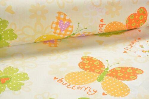 14,95 € // 1 Meter 240 cm breit Gelb Baumwolle Dekostoff Butterfly