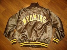Vtg 70s 80s Brown WYOMING COWBOYS Satin Jacket Mens LARGE starter Bomber Coat L