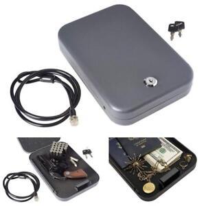 Hand Gun LockBox Pistol Storage Safe Lock Box Cash Jewelry Security Travel Car