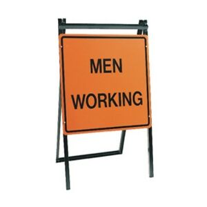men working folding a frame stand road street construction sign 24
