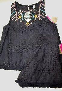ricamati Xhilaration Soul short M e Black Canotta Crochet Eyelet Nomadic set FFnrzPqU
