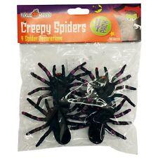 4 x Large Black Creepy Halloween Spiders Decoration Fancy Dress Prop Toy Joke