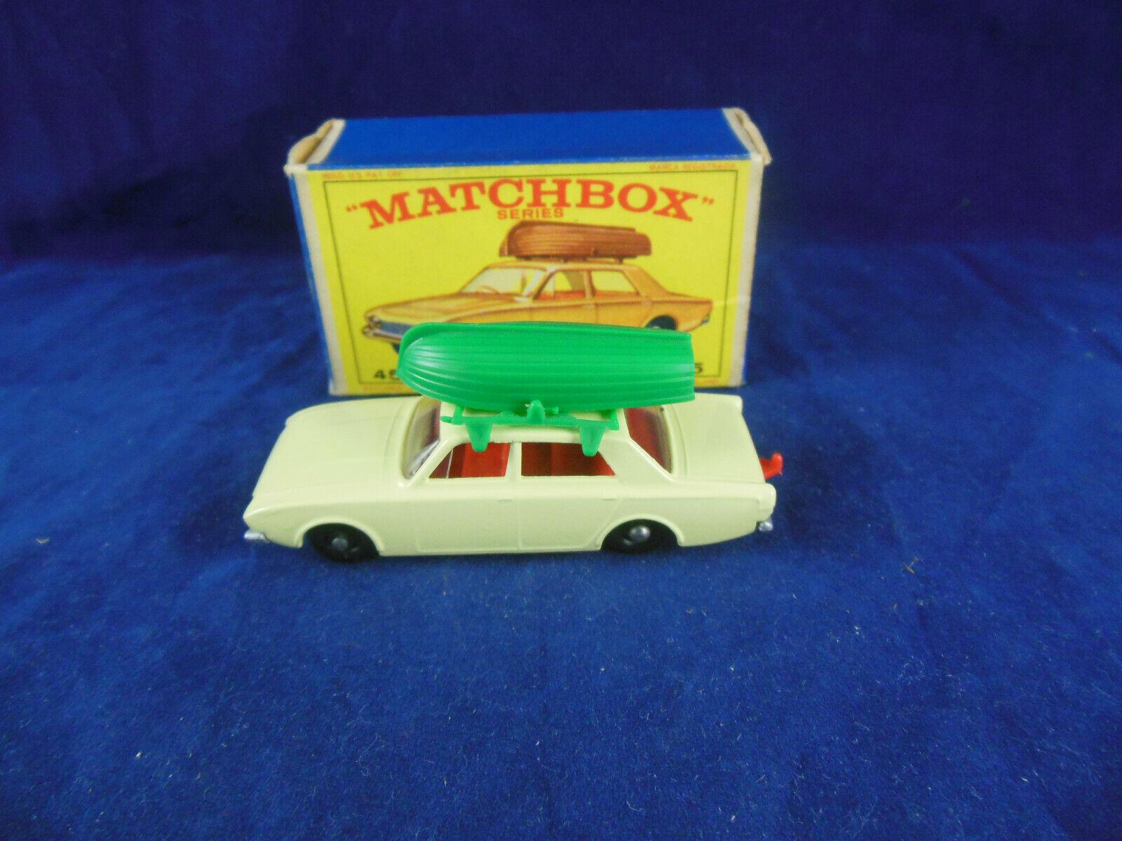 MATCHBOX REGULAR WHEELS No 45 B FORD CORSAIR en jaune pâle Argent Bordure & BATEAU