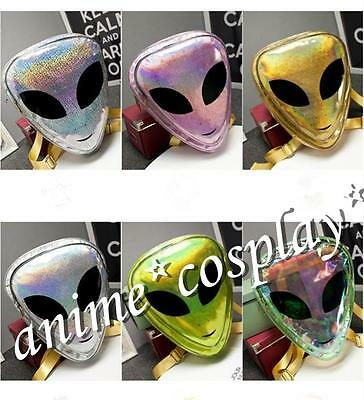 Alien Cartoon Women's PVC Hologram Transparent Backpack Clear Purse Travel Bag