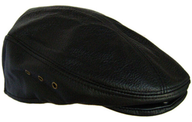 05fe840b88c0b Genuine Leather Large Black Newsboy Gatsby Cabbie Flat Driver Ivy Ascot Hat  Cap