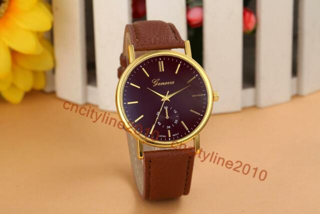 New Simple Face Gold Dial Leather Band Fashion Men Women Quartz Wristwatch Gift