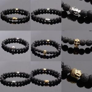 Natural-Stone-Lava-Stone-Buddha-Beads-Bracelets-Skull-Elastic-Men-Women-Bracelet
