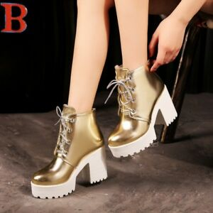 Platform-High-Block-Heels-Womens-Ankle-Boots-Creeper-Shoes-Lace-Up-Round-Toe