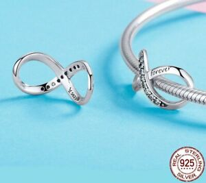 New Sparkling Family Forever Infinity Genuine 925 Sterling Silver Pendant Charm