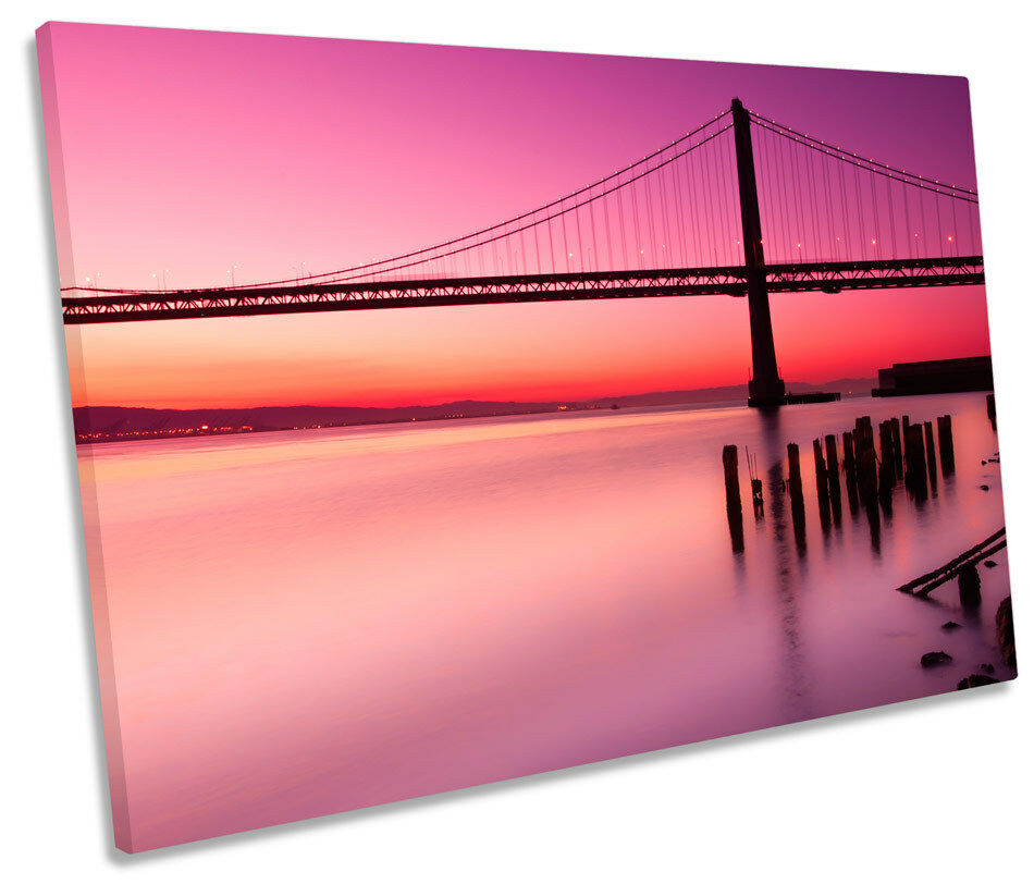 Bay Bridge San Francisco Sunset SINGLE CANVAS WALL ART Framed Print