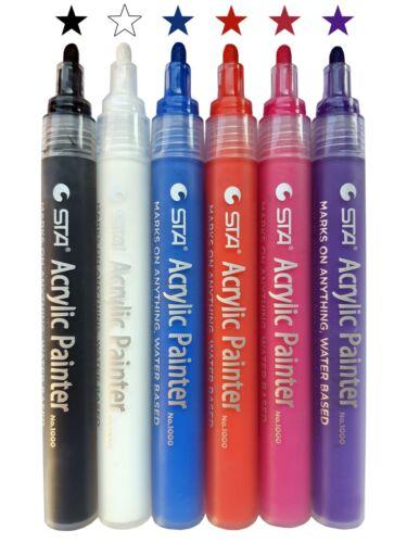 NEU Acrylstifte STA Marker Farben 6 Stifte Sonderangebot Basic Set