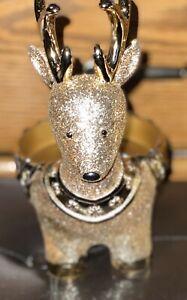 Bath /& Body Works White Barn Gold Sparkly Reindeer Pedestal 3 Wick Candle Holder