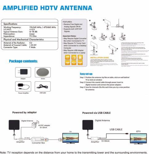 NEW AMPLIFIED INDOOR HDTV ANTENNA POWER HIGH GAIN 20dB UHF VHF FM DIGITAL TV