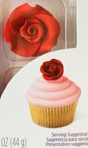 1X Set Wilton Large Red Rose Icing Decorations For Cakes Cupcake Candy Cookies