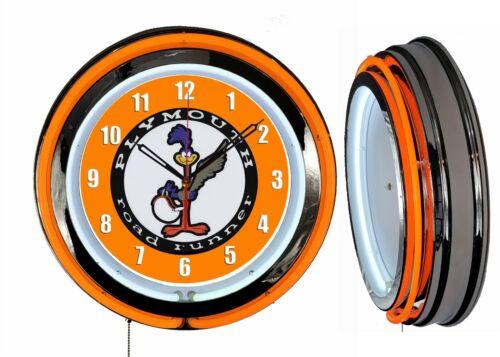 "Plymouth Road Runner 19/"" Orange Neon Clock Man Cave Garage Classic Car"