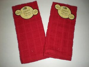 Set of 2 Red Terry Kitchen Towels by Better Home - 100% Cotton - NEW with Tags